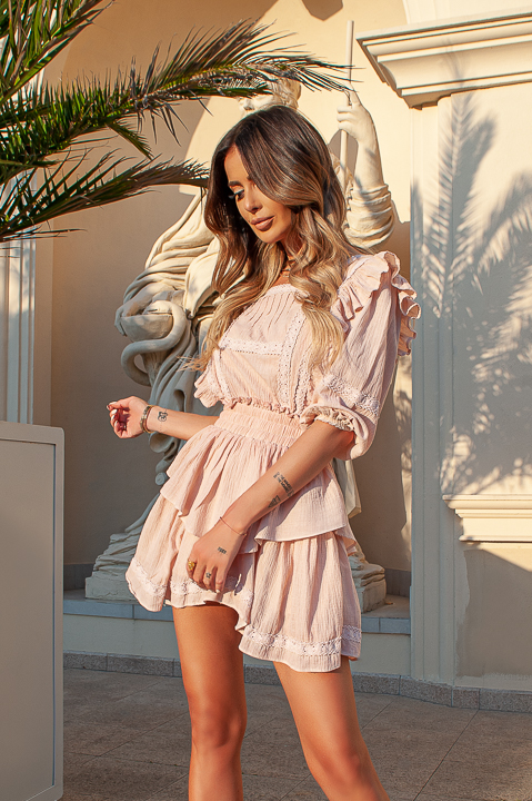 HYPNOSE LOOK - BEIGE DRESS WITH A WASHED EFFECT