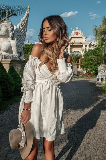 LENA - COTTON DRESS WITH ECRU EMBROIDERY