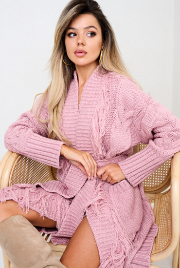 PINK SHEILA CARDIGAN WITH FRINGS