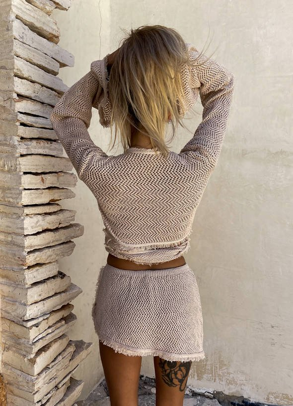 BEIGE SWEATER SET WITH MINI FRINGES | SS21