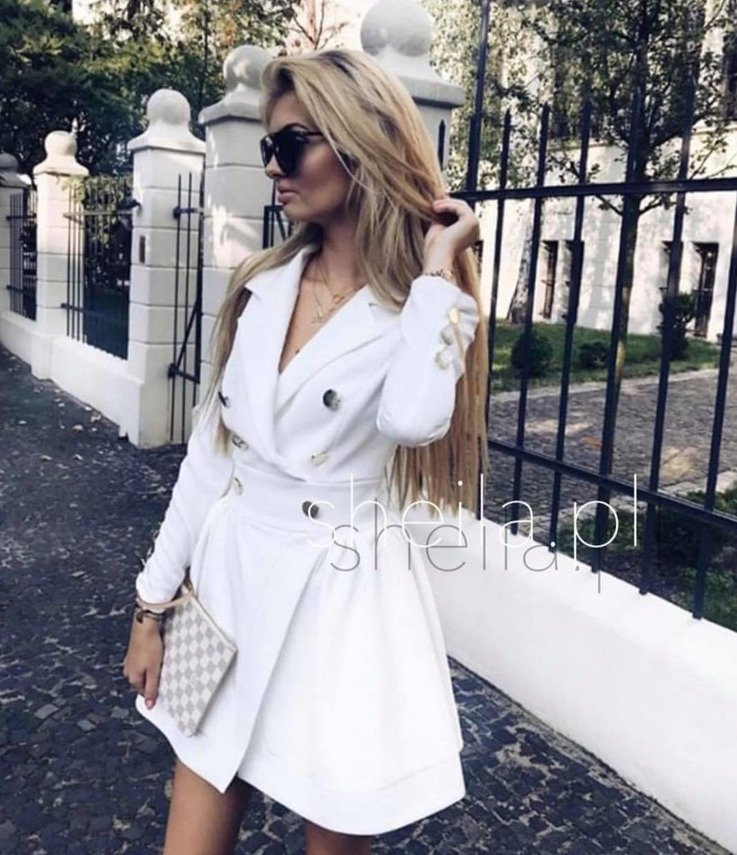 CREAMY NAVY JACKET STYLE DRESS