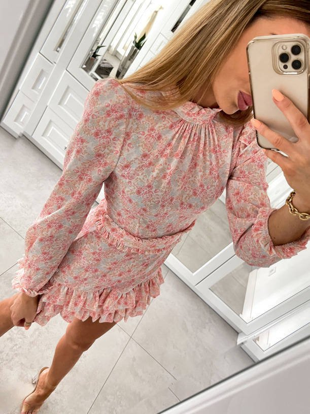 JIMENA - DRESS WITH DELICATE FLOWERS IN SHADES OF PINK