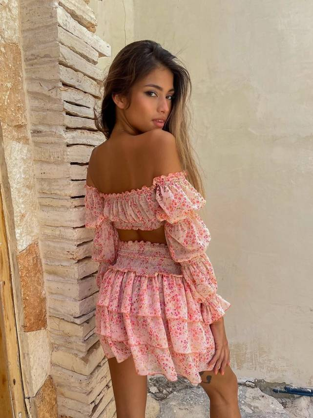 PEACH FLOWER - TWO-PIECE SET WITH PEACH FLOWERS