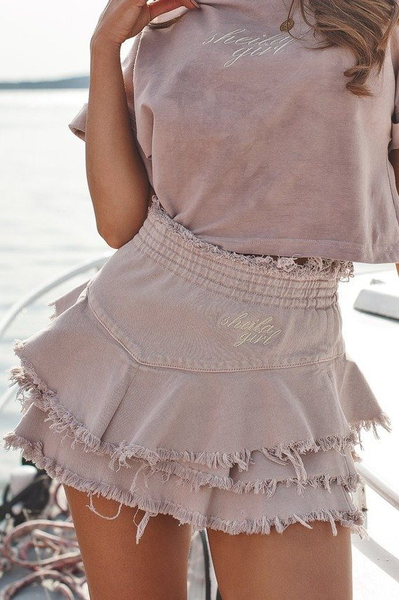 POWDER PINK SKIRT WITH EMBROIDERY SHEILA GIRL | SHEILA SS20