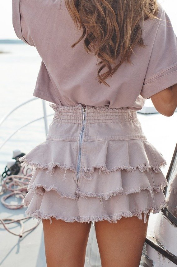 POWDER PINK SKIRT WITH EMBROIDERY SHEILA GIRL   SHEILA SS20