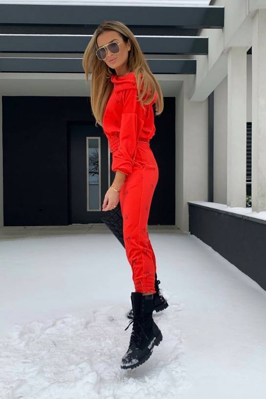 RED SHEILA SWEAT SUIT WITH MINI HOOD AND BLACK LOGO | SHEILA AW20