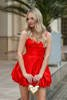 RED LIPS - TAFFE DRESS IN SHADES OF RED